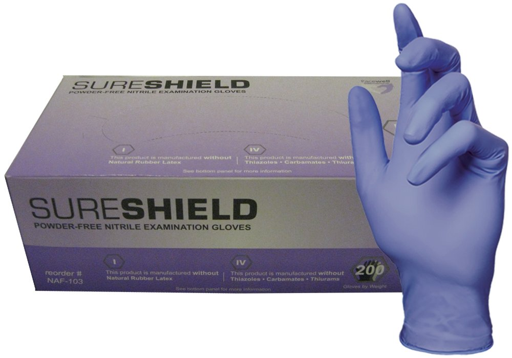 SureShield NAF-104-L-BX Nitrile Medical Grade Examination Glove, Accelerator-Free, 3.5 mil - 4 mil, Powder-Free, Textured Latex-Free, Large, Violet (Pack of 200)