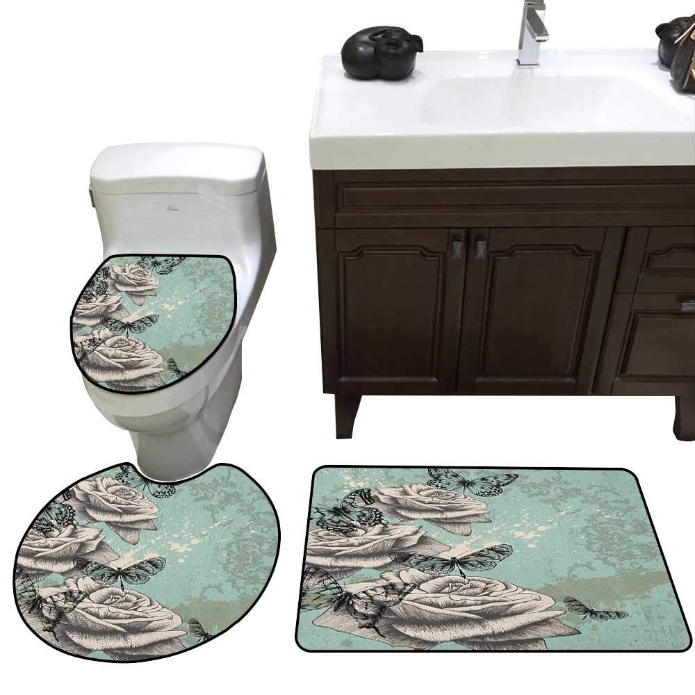 Rose 3 Piece Toilet mat Set Grunge Composition with Hand Drawing Style Roses Butterflies Vintage Artistic Bathroom and Toilet mat Set Seafoam Grey Black