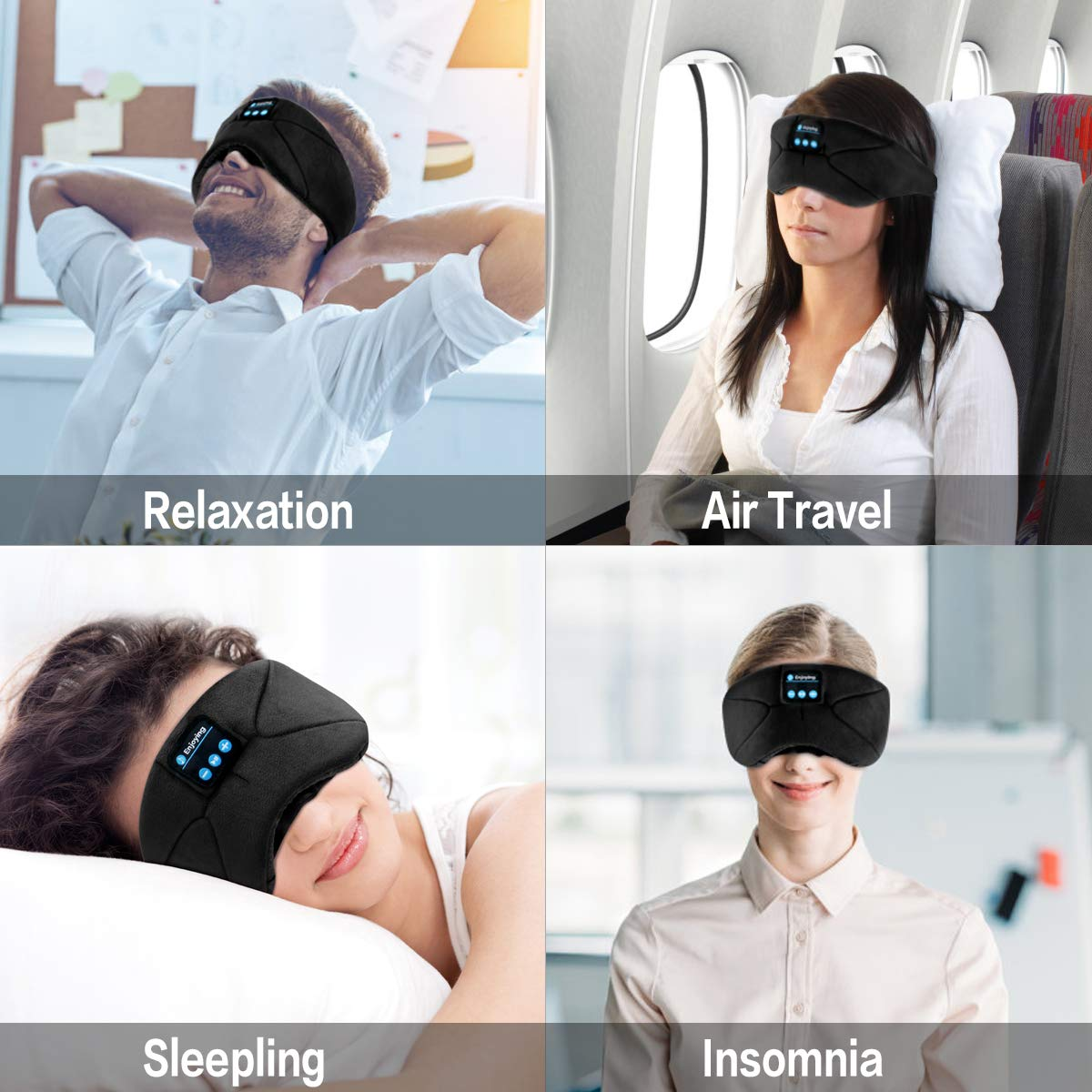 Bluetooth Sleep Eye Mask with Headphones,WUMINGLU Wireless Bluetooth 4.2 Sleeping Eye shades Handsfree Music Headset Built-in Speakers Microphone Washable for Travel Siesta(Upgrade)