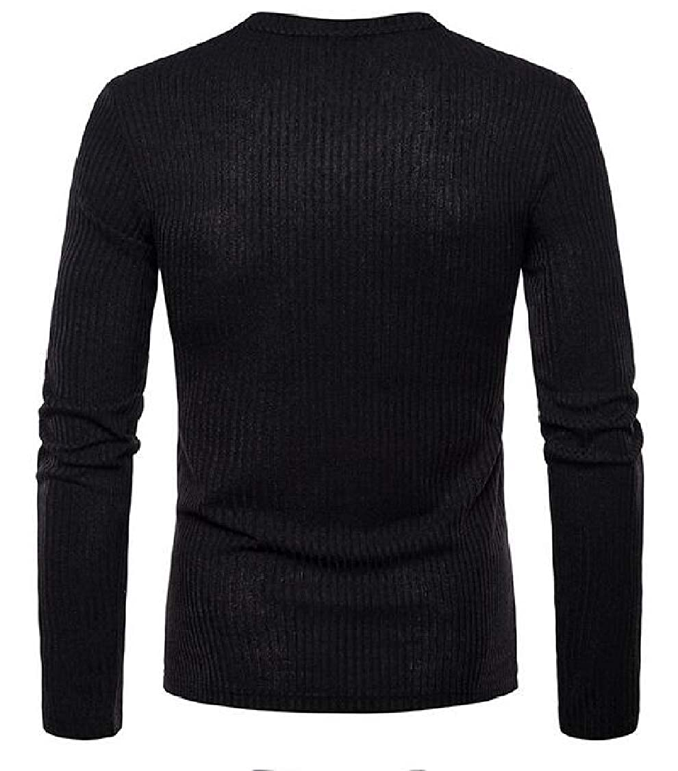 Hajotrawa Mens Knitted Thin Plain V Neck Long Sleeve Pullover Top Tee T-Shirts