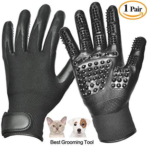Pet Grooming Glove, Pet Hair Glove Remover Mitt Gentle De-shedding Brush Glove, Five Finger Comb Glove Pet Massage...