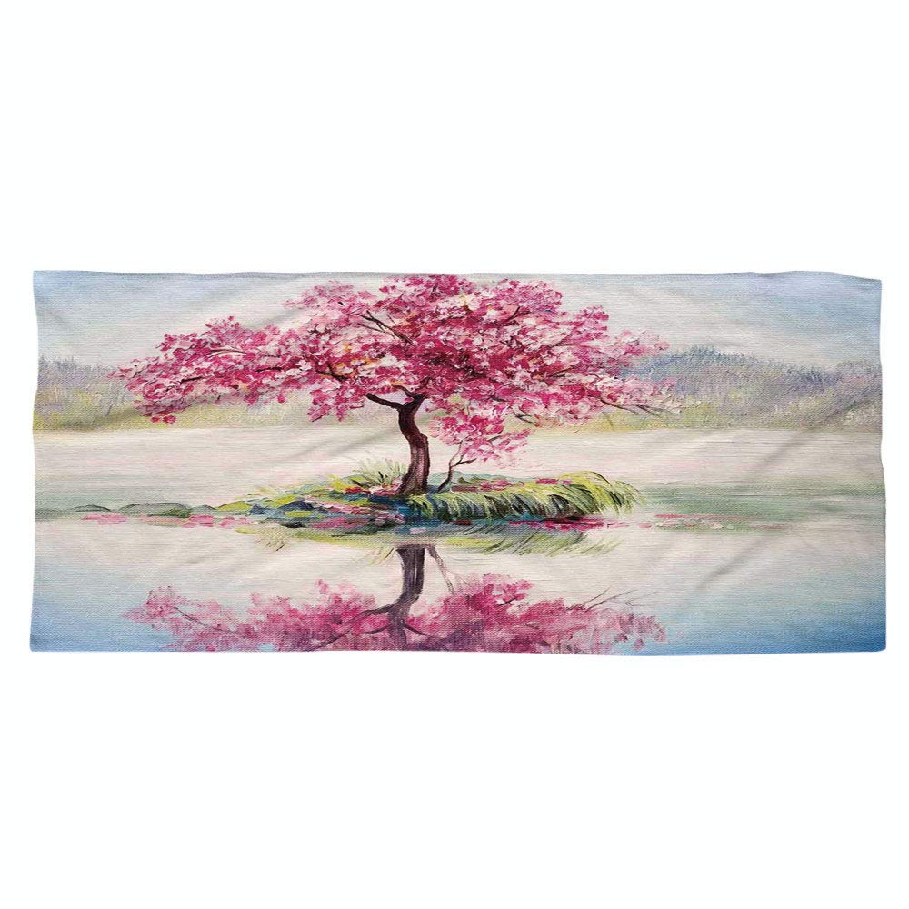 iPrint Large Cotton Microfiber Beach Towel,Country Decor,Image of Blooming Japanese Cherry Tree Sakura on The Lake Soft Romantic Culture Work,Multi,for Kids, Teens, and Adults