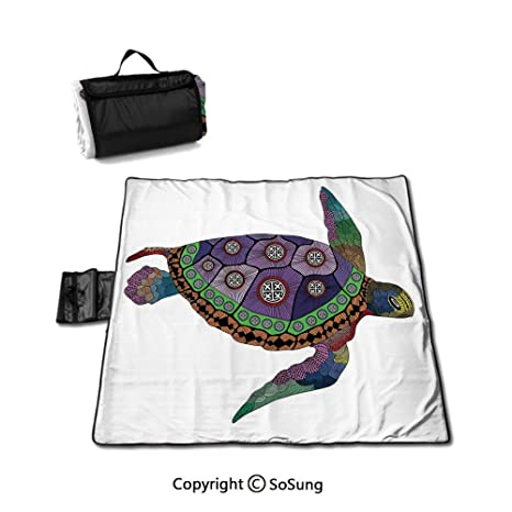 Manta de picnic con diseño de tortuga marina con tatuajes ...