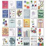 生日贺卡 - 盒装,30 种不同设计与生日问候语,32 个信封,美国制造