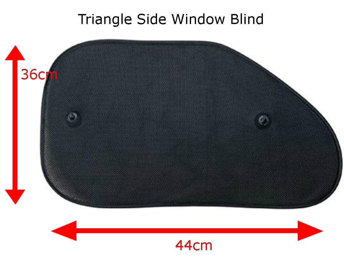 + 2 x Triangular Side Window Shades 100cm wide X 50cm tall Fold Up Rear Window Shade, XtremeAuto FULL REAR CAR WINDOW SHADES SET: Black UV Ray Shade//Shield Protection for Children Baby Pets.