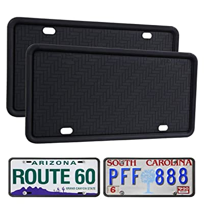 WildAuto License Plate Frame Black 2 Pack, Universal Silicone License Plate Holder for Cars, Anti-Rust Weather-Proof Rattle-Proof, Drainage Holes Design Silicone License Plate Frames: Automotive [5Bkhe0117205]
