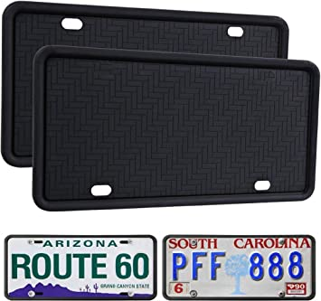 Universal License Plate Holder for Cars WildAuto License Plate Frame Black 1Pack Anti-Rust Weather-Proof Rattle-Proof and Drainage Holes Design