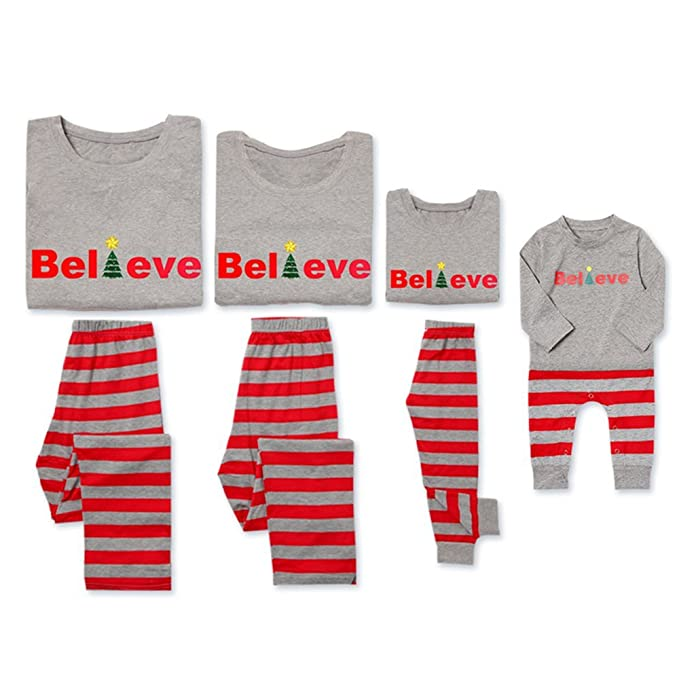 cea972269 PatPat Dad Mom Baby Kids Family Matching Christmas Striped Pajamas Set  Sleepwear (Men: 3XL