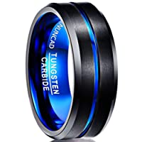 Nuncad Men's 8mm Blue & Black Tungsten Carbide Ring Matte Finish Beveled Grooved Wedding Band