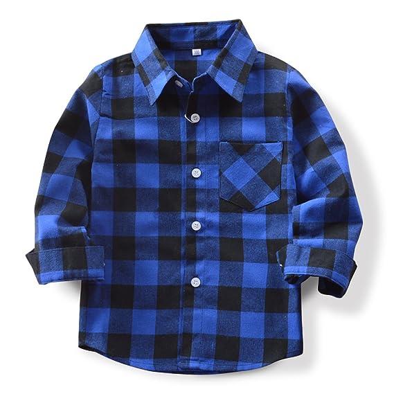 OCHENTA Little Kids Boys Girls Long Sleeve Button Down Plaid Flannel Shirt