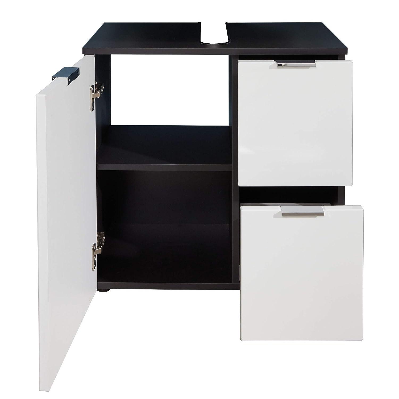 bianco lucido 60 x 64 x 34 cm Mobiletto da bagno Concept One corpo grigio grafite con ampio spazio trendteam smart living