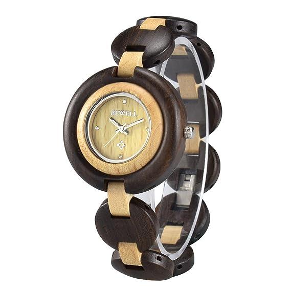 BEWELL Reloj Mujer Madera Analógico Cuarzo Japonés con Correa de Madera Redondo Luminosidad Function Casual Relojes