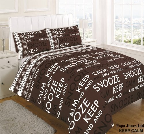 Keep Calm & Snooze Duvet Cover bedding set With Pillow Cases By Papa Jones Ltd (Brown/Choc, Super King) by Papa Jones (Jones Duvet)