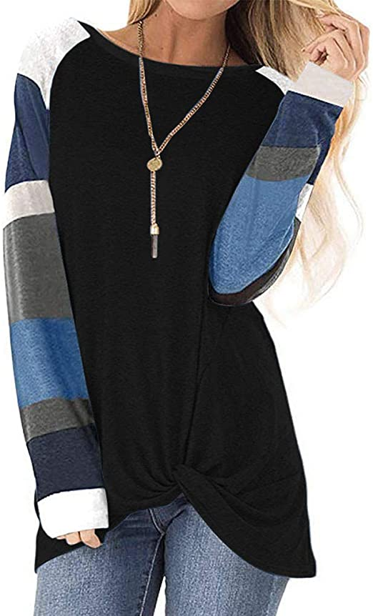 Hengshikeji Womens Casual Long Sleeve Patchwork Crop Top Hoodies Sweatshirts Blouses Shirts Jumpers Tunic Pullover