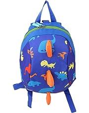 ODN Child Safety Harness Backpack Leash Toddler Anti-Lost Dinosaur Bag (Dark Blue)