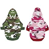 DERUILA 2 Pack Dog Hoodie Camo Clothes Cat T Shirt for Small boy Dog Girl