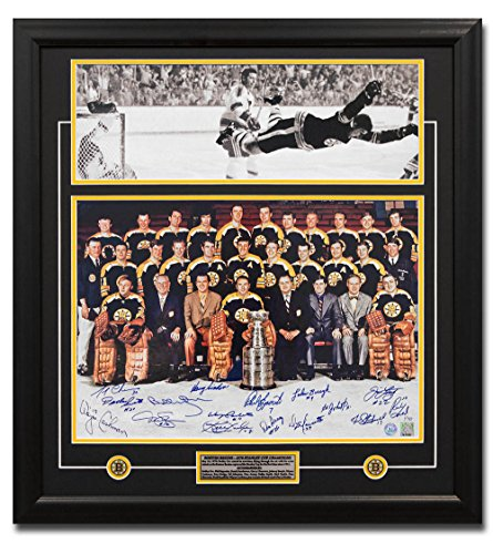 (AJ Sports World 1970 Boston Bruins Stanley Cup 16 Player Team Signed Bobby Orr Goal 27x29 Frame)
