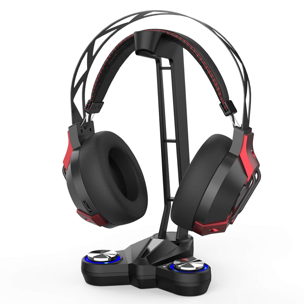 dodocool Gaming Headphones Stand Headset Stand with EQ7.1 Surround Sound, Headset Holder, LED Lights, 2 USB Ports 3.5mm Audio Jacks and a Microphone ...
