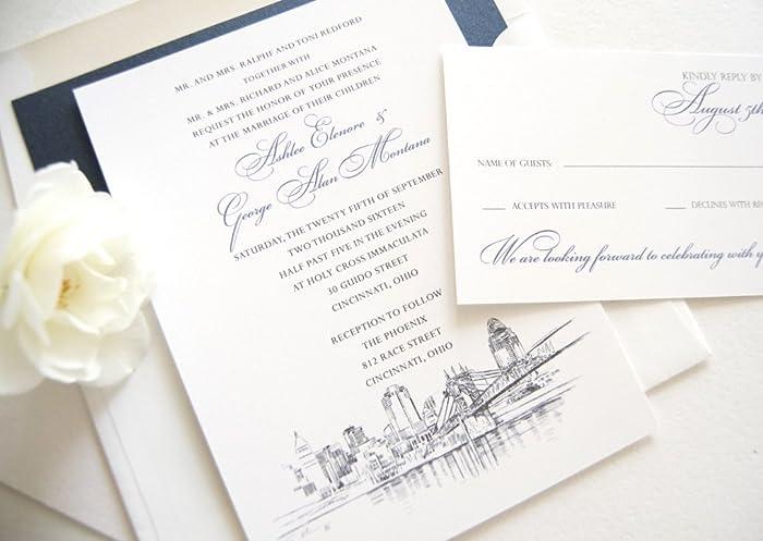 Amazon Com Cincinnati Skyline Wedding Invitations Package Sold In