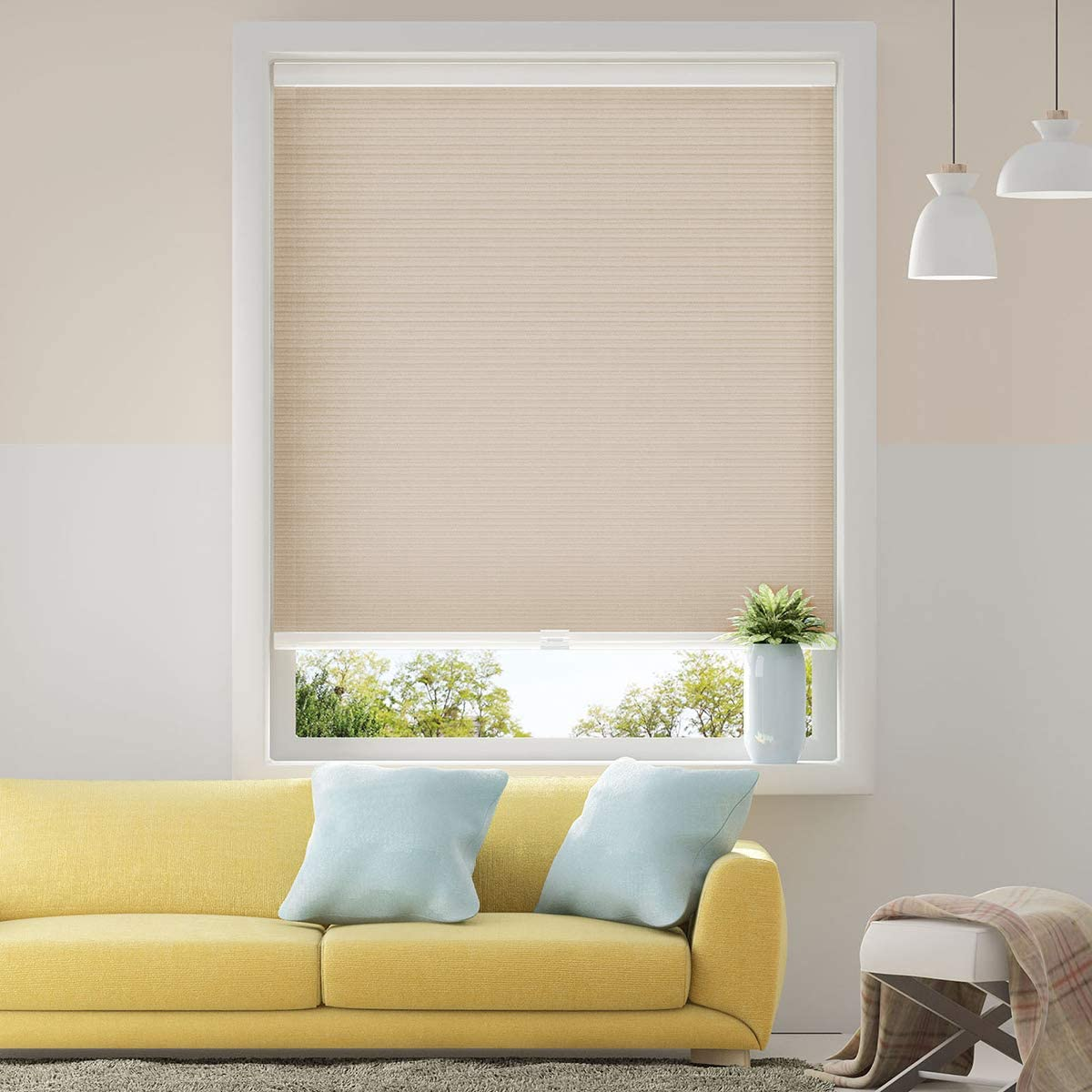 Cellular Blinds Cordless Shades for Windows Single Cell Shade - Provide Privacy and Filters Light - 31 x 64 inch, Ivory Beige(Light Filtering)