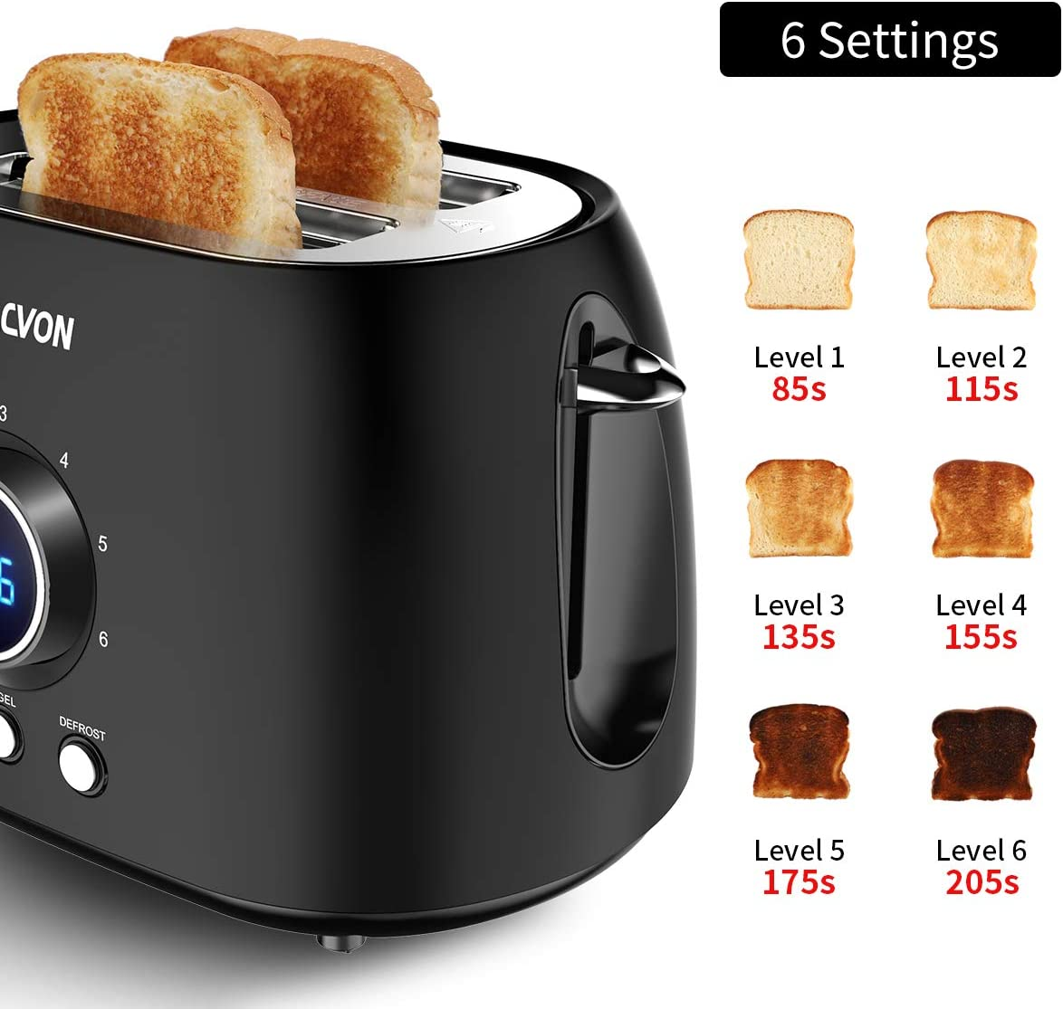 Sacvon Stainless Steel Toaster with Big Timer,Wide Slot Bagel Defrost Reheat Cancel Function,Removable Tray 2 Slice Toaster