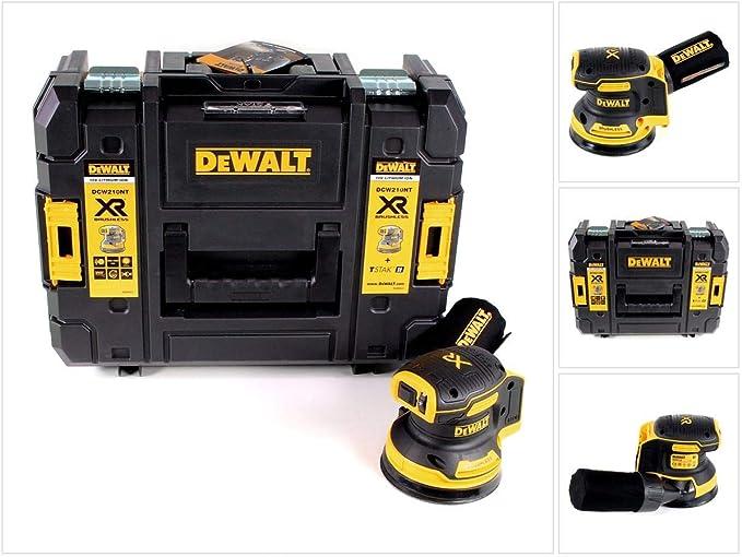 DeWALT DCW210NT-XJ DCW210NT-XJ-Lijadora Rotorbital sin escobillas XR 18V Ø125mm Electrónica sin cargador/batería con maletín TSTAK II, 18 V, Negro/Amarillo: Amazon.es: Bricolaje y herramientas