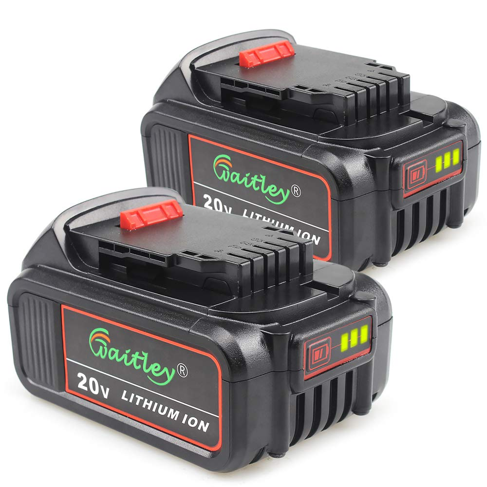 2 Pack Waitley DCB200 6A Replacement Battery for Dewalt 20V Max XR Tools