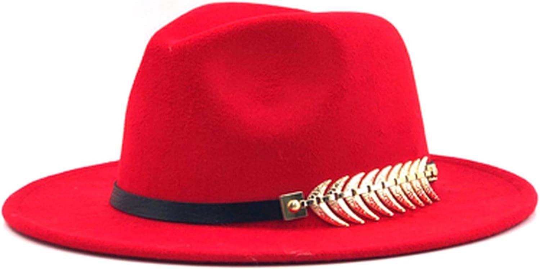 Wool Fedora Hat Wide Brim...