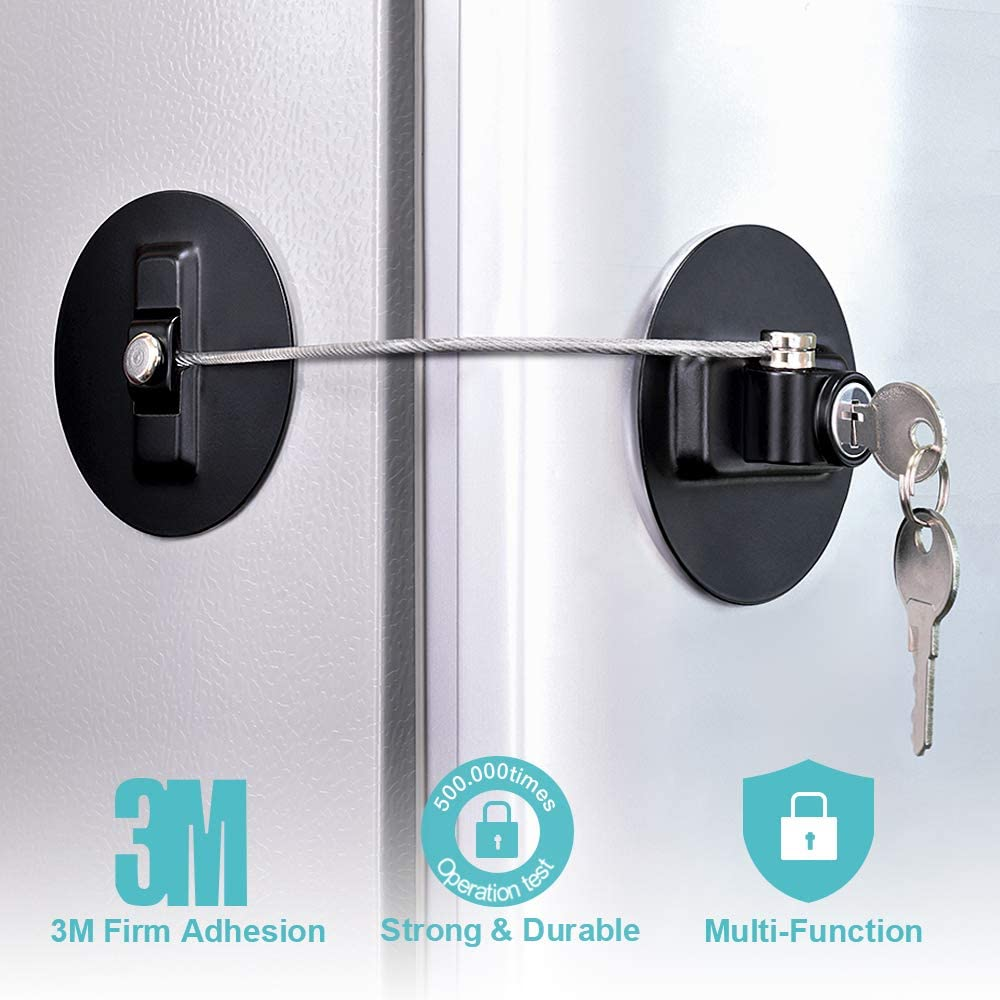 Refrigerator Lock, Fridge Lock with keys, Rustproof Freezer Lock with Strong 3M Adhesives, Heavy-duty Aircraft Cable, provides 500 lbs Resistive Force, Black Refrigerator Locks for Children