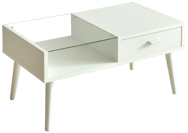 【魅せる収納と隠す収納で使い分け】 ディスプレイ付き センターテーブル (ホワイト) B07CSHV4DY  ホワイト