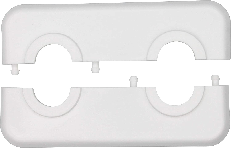 19mm 14mm para tubo di/ámetros: 12mm 12mm 15mm 18mm polipropileno 17mm Roseta doble para tubos de calefacci/ón 16mm pl/ástico blanco 21,3mm; rosetones// protectoras radiador// cubiertas