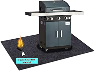 Under Grill Gear Flame Retardant Mats,Barbecue Grilling for Gas,Absorbing Oil Pads,Reusable Durable Washable Floor Mat Protect Decks ,Patios, Grease Splatter,Messes (Grill Mats:37.4inches x 58inches)