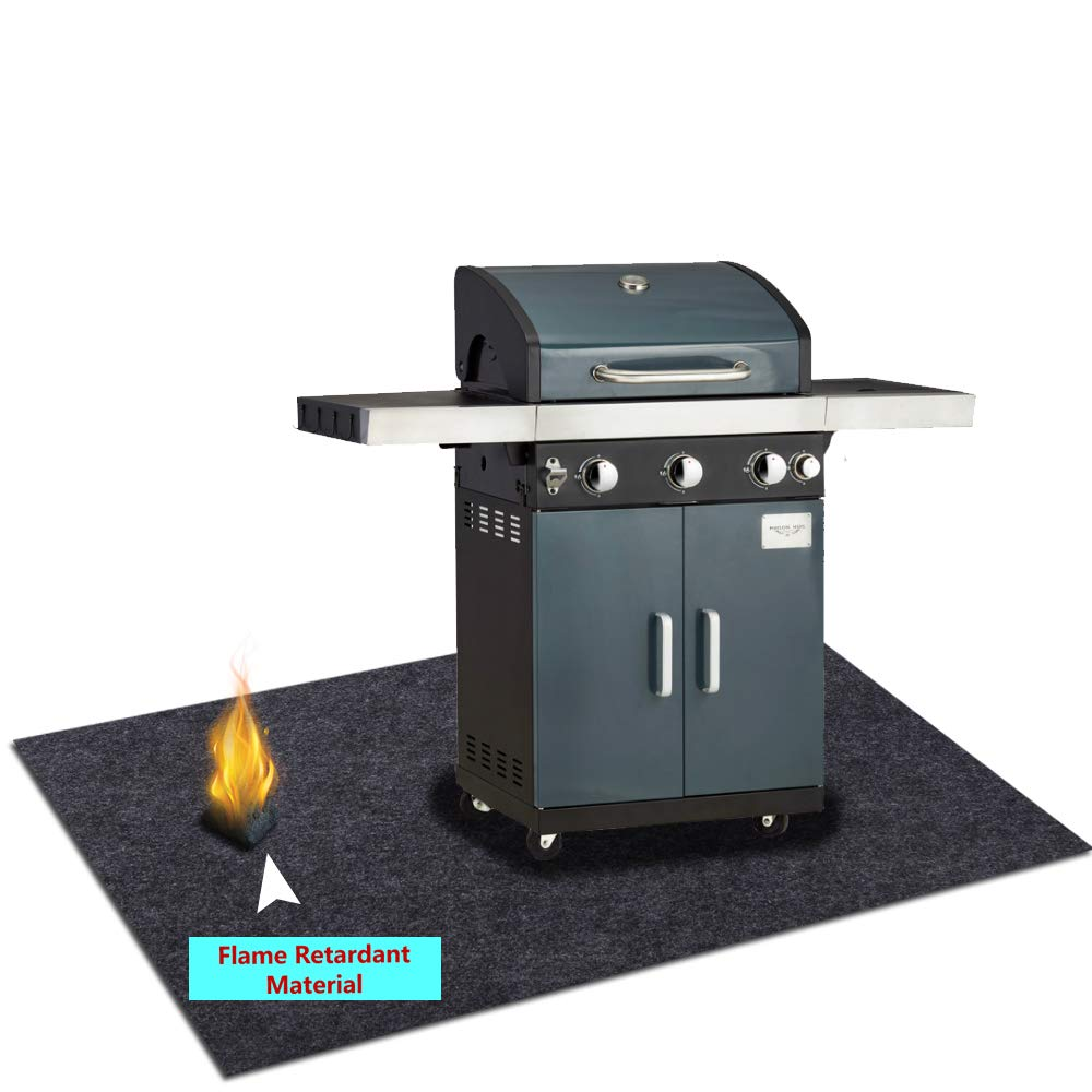 Under Grill Gear Flame Retardant Mats,Barbecue Grilling for Gas,Absorbing Oil Pads,Reusable Durable Washable Floor Mat Protect Decks,Patios, Grease Splatter,Messes (Grill Mats:37.4inches x 80inches)