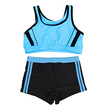 89a7af3558885 Girls Swimsuits Set Junior Two Piece Bathing Suit Teens Beach Shorts Summer  Elastic Tankini Child Sports