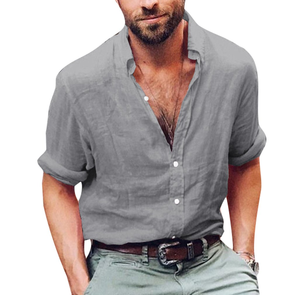juqilu Camisa para Hombre Lino Blusa Casual de Manga 3/4 Top Sin Cuello de Color Sólido Blusas Suelta Camisas de Trabajo Suave Cómodo… DcJ7LS
