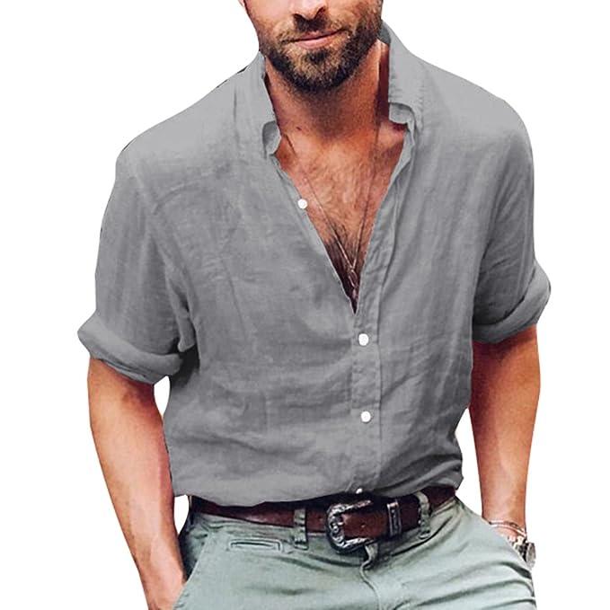 Hibote Camisa Hombre Blusa Suelta Casual Transpirable Top de Manga Larga Camisas Cuello Alto de Color Sólido Blusas de Trabajo M L XL… FmMQeOK5R
