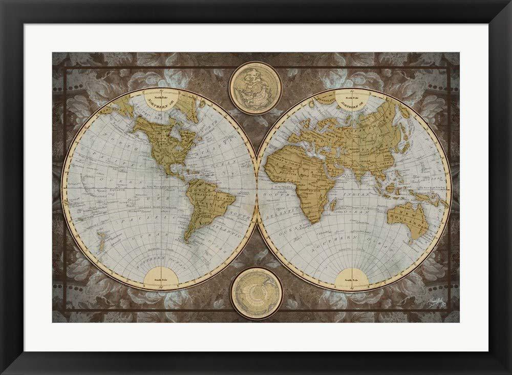 Amazon.com: World Map by Elizabeth Medley Framed Art Print Wall ...
