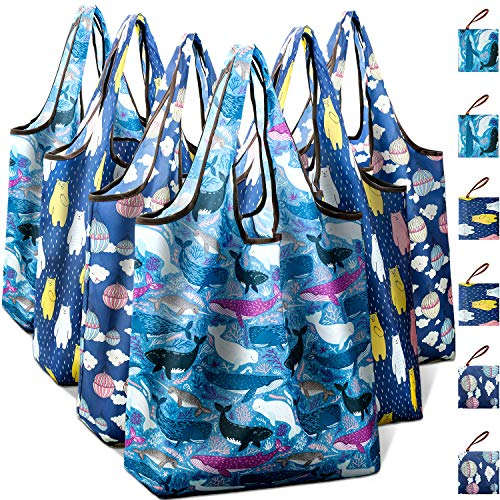 Reusable Grocery Shopping Bags Foldable with Pouch, Heavy Duty Nylon Cloth Reusable Bags for Groceries, Shopping Trip (Brunet Series, 6-pcs)