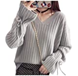 [エムズ モア] ゆったり ニット vネック 袖 リボン 秋 冬 服 レディース オフホワイト グレー ブラウン S~L