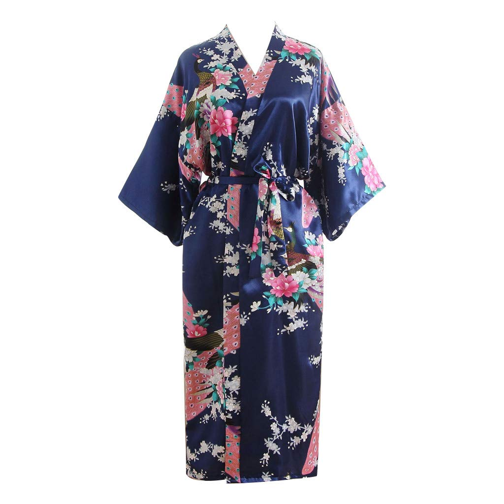 Women's Sexy Long Nightgown Women Floral Printed Oblique V-Neck Satin Bath Kimono Robe Lingerie Easter Gift (Free, Navy)
