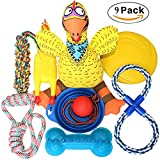 Jomilly Dog Toys Chew Toys Set For Heavy Aggressive Chewers 9 Pack Rubber Ball Chewing Rope Flying disc Pet Teething Toy For Large Breads High Energy Dogs