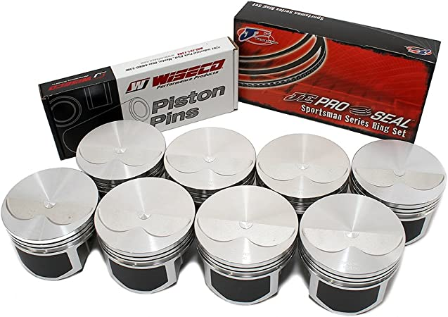 Sealed Power Cast Flat Top +.060 Pistons /& Cast Rings COMBO compatible with 1967-85 Chevrolet Chevy SBC 350 5.7L 8 STD 4.060 Bore Diameter Set of