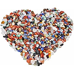 rockcloud 1 lb Mixed Stones Tumbled Chips Crushed Stone Healing Reiki Crystal Jewelry Making Home Decoration
