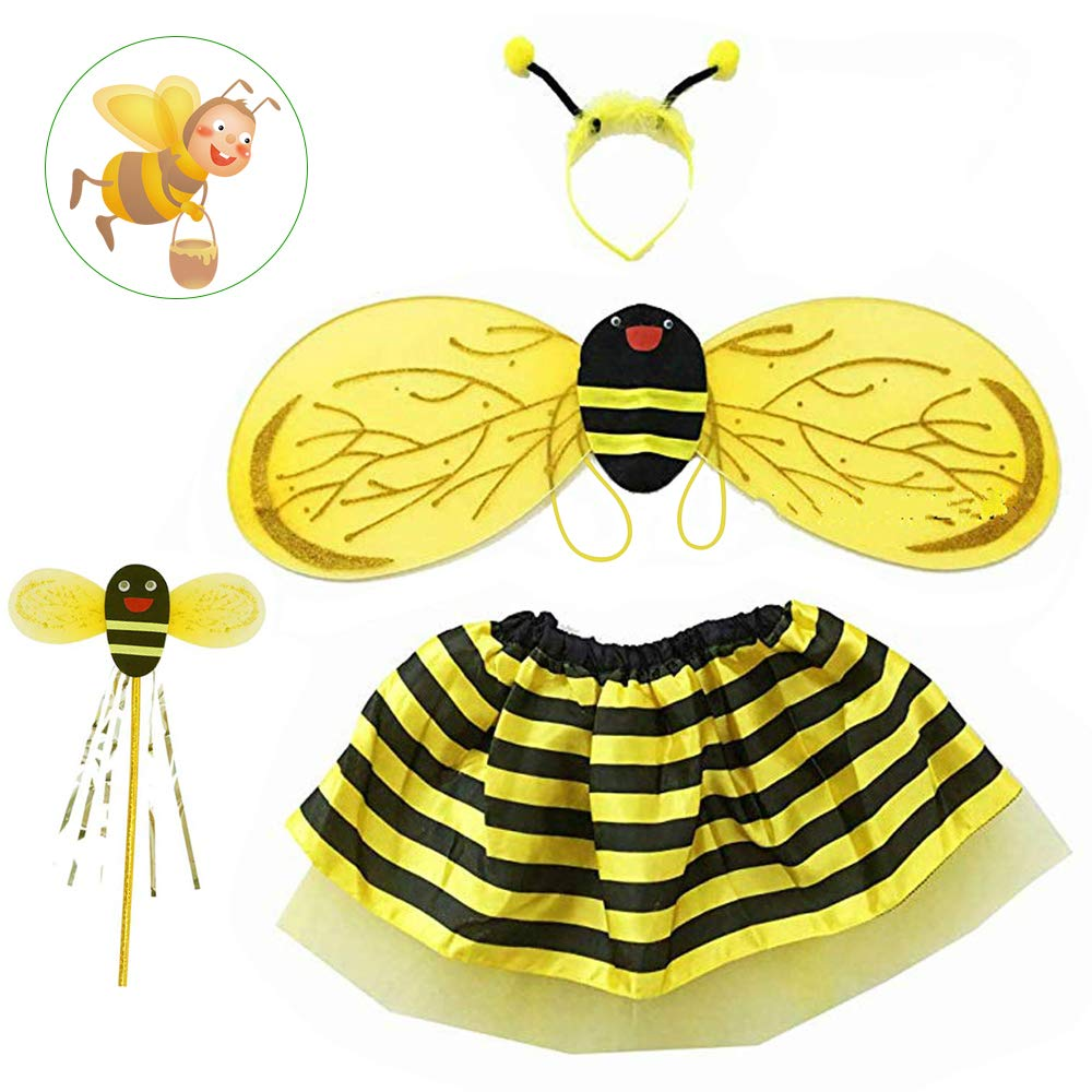 AFASOES Bee Costume Bumblebee Fancy Dress Halloween Costume Girl Christmas Dress Up for Christmas Party Costume with Wings, Headband, Wand, Skirt suit for Stage Performance,Role Playing(2-5 years)