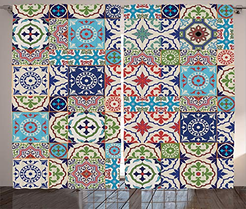 Ambesonne Moroccan Decor Collection, Patchwork Pattern from Colorful Moroccan Tiles Traditional Decorating Illustrations, Living Room Bedroom Curtain 2 Panels Set, 108 X 84 Inches, Navy Red (Moroccan Bedroom)