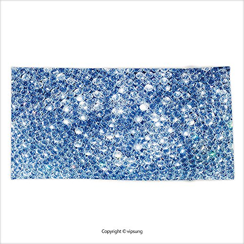 Vipsung Microfiber Ultra Soft Hand Towel Diamond Decor Various Diamonds Gems Alluring Rocks Stones In Storm Abstract Rocks Crystal Love Decoration Blue For Hotel Spa Beach Pool Bath