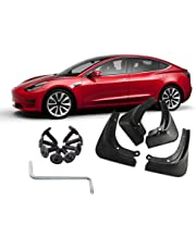 Tesla Model 3 Accessories Hamkaw Front Rear Heavy Duty Splash Mud Guards Full Set 4pcs Suitable for All Tesla Model 3