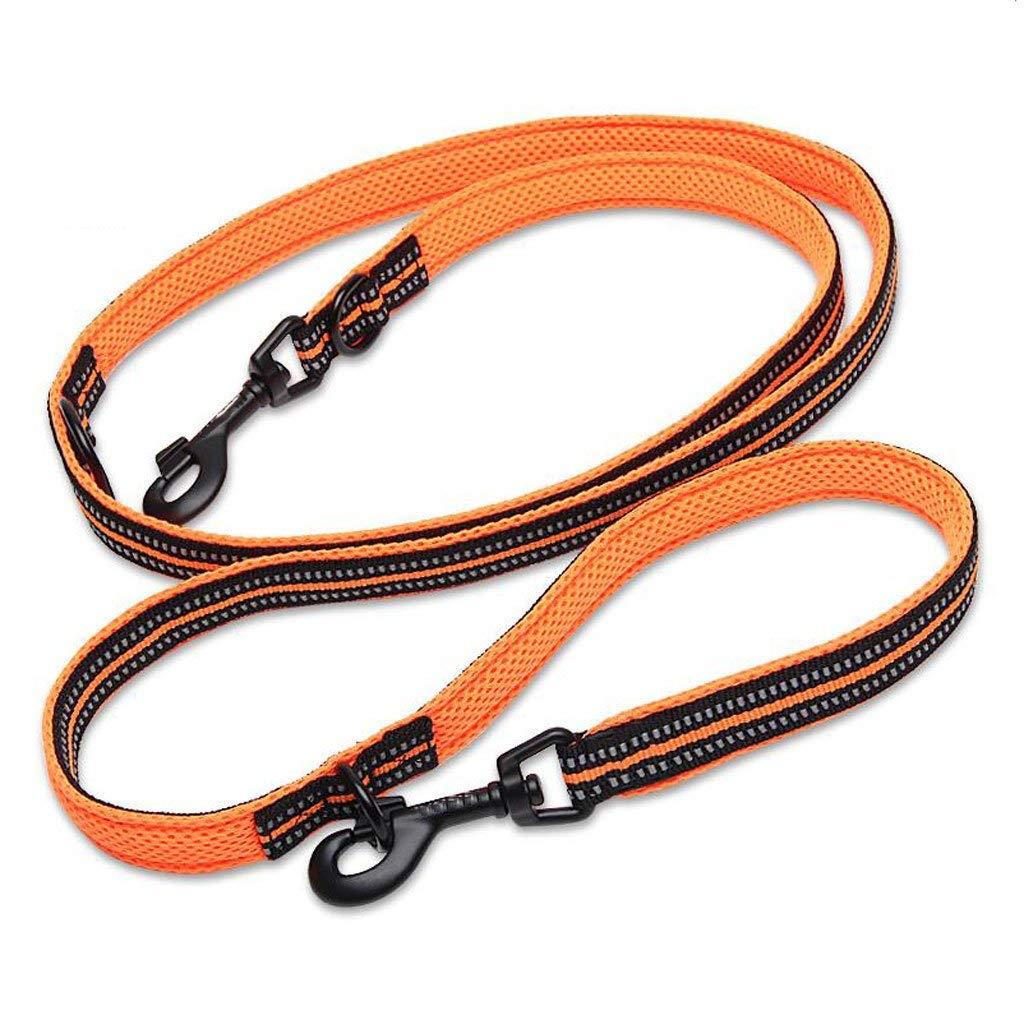 orange L orange L Dog Chain, Dog Leash Multifunctional Traction Rope Pet Traction Belt golden Retriever Dog Leash Dog Chain Double Traction Dog Chain (color   bluee, Size   S) (color   orange, Size   L)