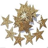 48 Gold 25mm Self Adhesive Glitter Star Sticker card making craft Diy christmas