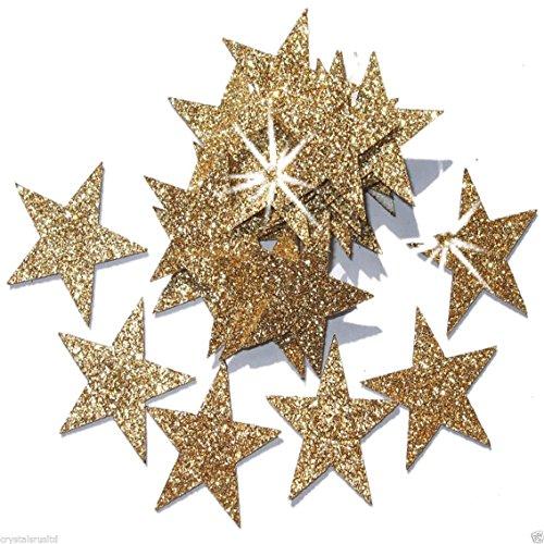 Gold 25mm Self Adhesive Glitter Star Sticker card making craft Diy ()